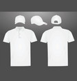 white polo t shirt and baseball cap vector image vector image