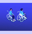 woman in a wheelchair - modern isometric character vector image