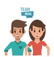 young teamwork cartoon vector image vector image