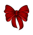 decorative realistic red bow isolated on white vector image