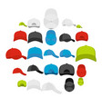 baseball cap views icons set simple style vector image