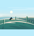 abstract minimalistic landscape with village house vector image vector image