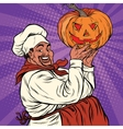 African American or Latino cook with a Halloween vector image vector image