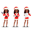 african-american woman in santa claus costume vector image vector image