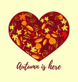 autumn card with hand drawn colored leaves vector image
