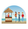 beach and kiosks cartoons vector image