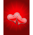 Beautiful red heart in glowy background vector image vector image