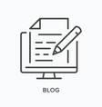blog content flat line icon outline vector image