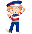 boy in netherlands flag color costume vector image vector image