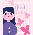 breast cancer awareness month cartoon woman help vector image vector image