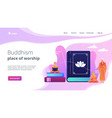buddhism concept landing page vector image vector image
