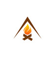 camping fire logo icon design vector image