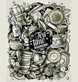 cartoon doodles tea toned vector image vector image