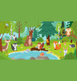 cartoon forest animals wild bear funny squirrel vector image vector image