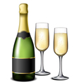 Champagne bottle with glasses vector image vector image