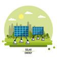 color landscape image solar energy panels vector image vector image