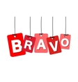 colorful hanging cardboard Tags - bravo vector image