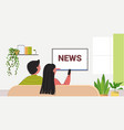 couple watching tv daily news program on vector image vector image