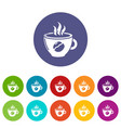 cup coffee icons set color vector image