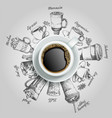 cup of coffee with coffee drinks creative vector image vector image