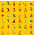 Cute cartoon robot characters seamless pattern vector image vector image