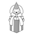 cute lion with giftbox and hat in party vector image vector image