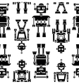Cute retro robots black silhouette pattern vector image