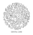 dental care web design concept line icons vector image