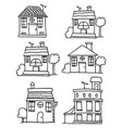 doodle of house set style vector image vector image