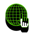 earth globe with cursor green 3d icon vector image vector image