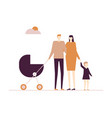 family on a walk - flat design style colorful vector image vector image