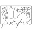 fast food one line drawing vector image vector image