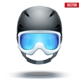 Front view of Classic blue Ski helmet and orange vector image vector image