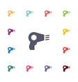 hairdryer flat icons set vector image