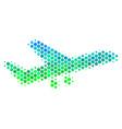 halftone blue-green aiplane icon vector image