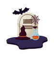 halloween tomb with hat of witch and set icons vector image vector image