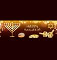 happy hanukkah banner realistic style vector image vector image