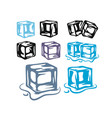 ice cubes set on white background vector image vector image