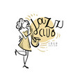 jazz club logo vintage music label with woman vector image vector image