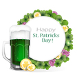 Leprechaun beer with coins and clover vector image vector image