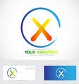 Letter X grunge orange logo vector image vector image