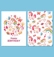 magic cute unicorn greeting card cartoon vector image vector image