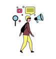 man using mobile and social media icons vector image vector image