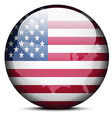 Map on flag button of United States of America vector image vector image
