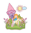 mermaid with unicorn and castle in landscape vector image vector image