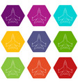 military jet icons set 9 vector image vector image