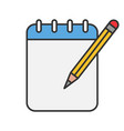 notepad with pencil color icon vector image