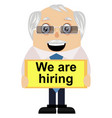 old man is hiring on white background vector image