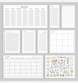paper sheets with empty schedule notes and charts vector image vector image