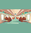 passenger train wagon interior cartoon vector image vector image